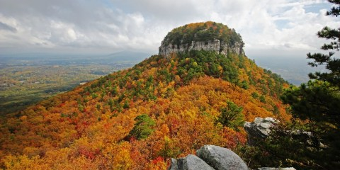 The Pilot Mountain is truly an iconic summit actually a part of the A.V.A Yadkin Valley, an American viticultural Area, U.S. Route 52 passes through the Town of Pilot Mountain near the mountain