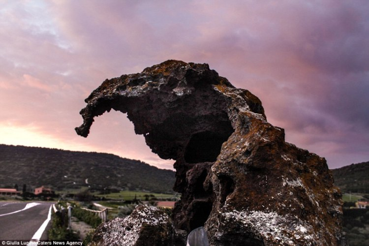Giulia Lupino captured these striking images of Elephant Rock, which is situated along a trunk road in Castelsardo, Sardinia, Italy