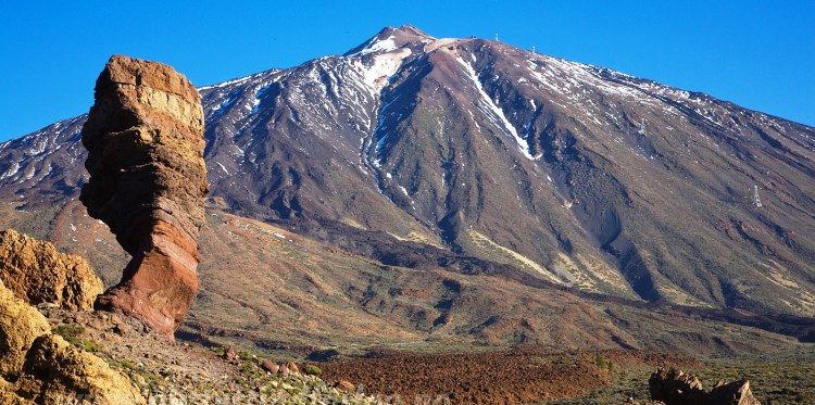 The Roque Cinchado is a rare rock formation lies within the Teide National Park in the municipality of La Orotava Canary Islands of Spain.