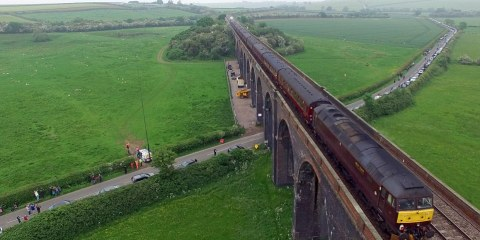 Thus, a cloudy, grey day was brightened up by the iconic locomotive chugging along the tracks of the Harringworth viaduct in Northamptonshire, which is longest masonry viaduct in Britain.