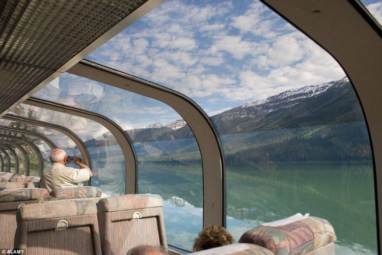 Canada's Rocky Mountaineer can enjoy gazing through ceiling windows to the country's fast-flowing rivers and avalanche-threatened passes