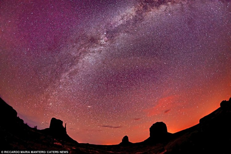 The Milky Way taken from the Navajo reservation - which spans Utah, Arizona and New Mexico. The rock monuments here are some of the most famous in the world