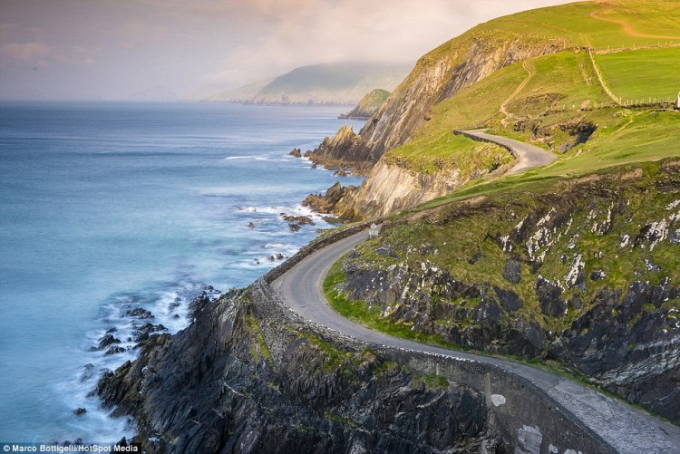 The winding roads near Coumeenoole Bay in Slea Head in County Kerry have steep cliffs with sheer falls to the crashing waves