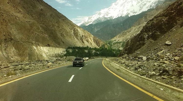 View of Rakaposhi 7788 meter, Sikandarabad, Nagar Valley, Gilgit-Baltistan, Pakistan