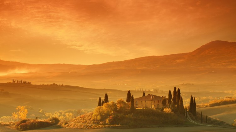 Farm in Tuscany at sunrise. Shot with Cokin color & graduated filters.