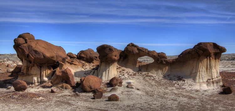 "Bisti is resulting from the Navajo word ""Bistahi"" which means ""among the adobe formations."