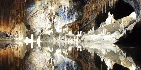 The Saalfeld Fairy Grottoes are famous for their myriad colorful mineral formations formed quite a lot of years by water dripping via soft rock.