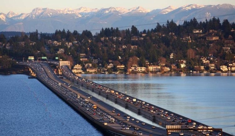 The third longest floating bridge was built in 1993, replacing a structure that sank during a severe storm. Photo credit Joshua Trujillo www.seattlepi.com