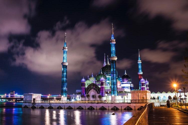 The Crystal Mosque is located at Islamic Heritage Park on the island of Wan Man in Kuala Terengganu, Terengganu, Malaysia.