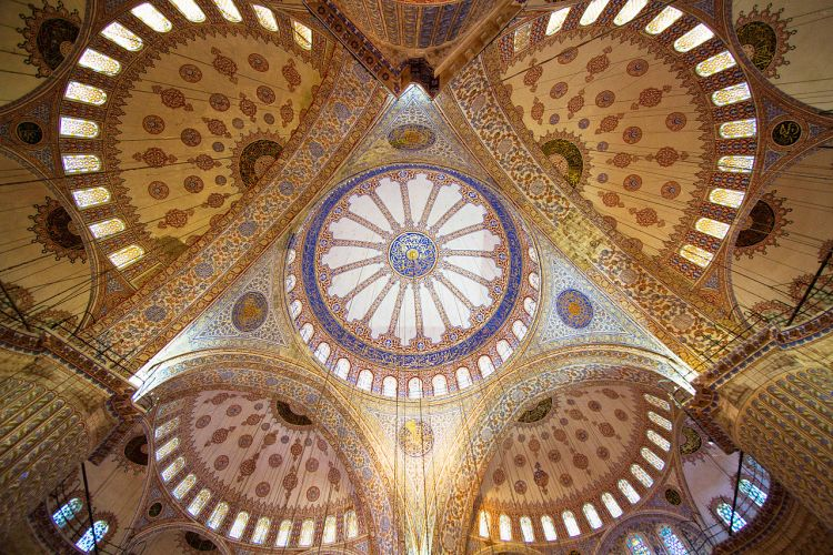 The mosque is known as the Blue Mosque because of blue tiles surrounding the walls of interior design.