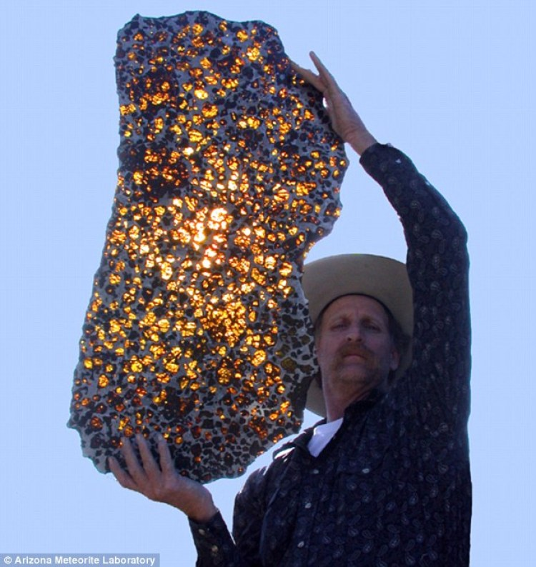 Marvin Killgore of the Arizona Meteorite Laboratory lets the sun shine through a polished slice of the Fukang rock