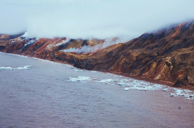 Most people perceive the Arctic as a clean, pristine environment, but the Smoking Hills, located 350 km east of the Mackenzie Delta, are a natural source of air pollution.