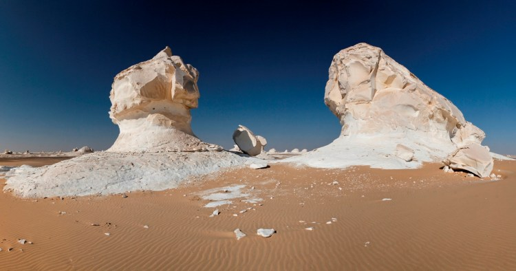Just a few hours from the bursting metropolis of Cairo lies a strange desert that will make you feel like you have landed on the surface of the moon.