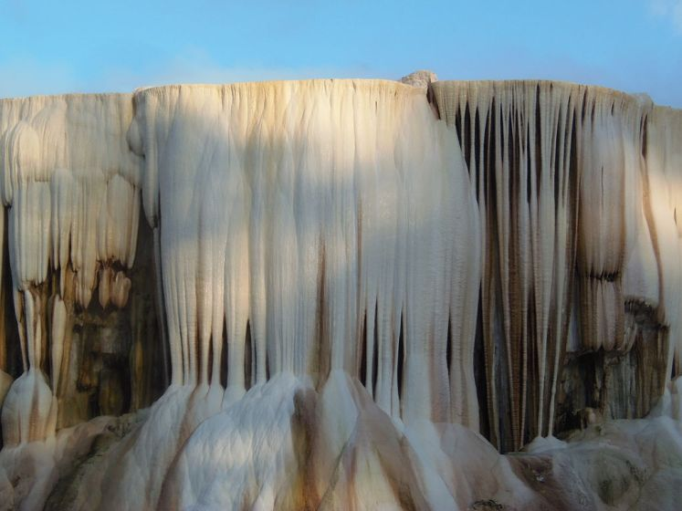 Closer view of the flowing travertine formations