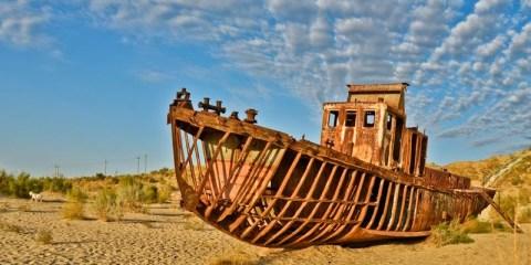 Moynaq ship Graveyard — Mo'ynoq also spelled as Muynak and Moynaq, is a city in northern Karakalpakstan in western Uzbekistan. Image credit Tom McShane