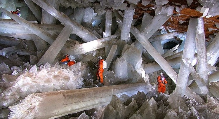 The cave contains staggeringly huge crystals as some of four metres thick.
