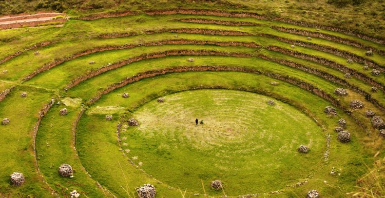 The Sacred Valley of the Incas, in the Southern Sierra in Peru, contains many famous and lovely Inca ruins.