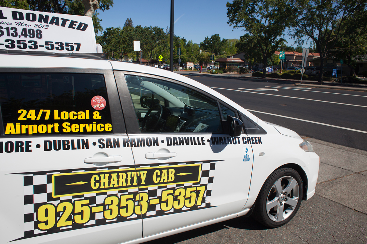 Charity Cab at intersection offering taxi in Alamo, CA