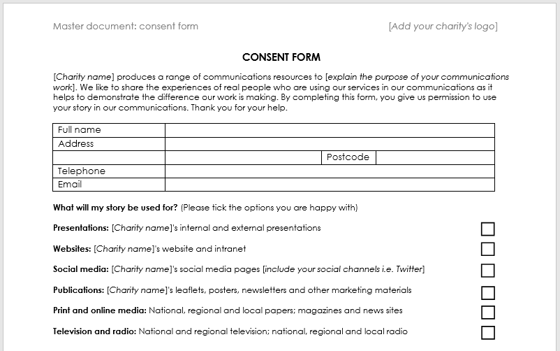 Menu For Olive Garden: Case Study Consent Form Template