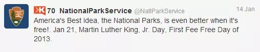 National Park Service MLK Tweet