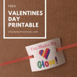 Valentine Printable – Glow Stick Card for Kids