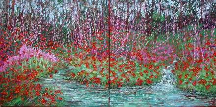 plein air studio oil paintings by Charlene Marsh 030416 30x60 WEB Flowers by the Creek