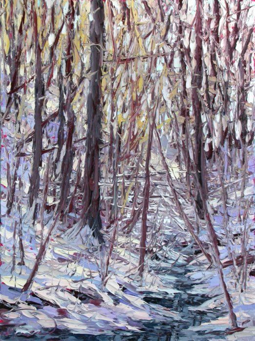 """Sunshine in the Snowy Forest, commissioned oil painting on panel, 16"""" x 12"""", by Charlene Marsh"""