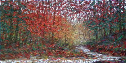 """Autumn in the Forest, oil on panel, 26"""" x 52"""", by Charlene Marsh"""