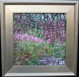 "010416 S 12x12 ""Magic Lilies"", oil painting, 12"" x 12"", framed, © 2016 Charlene Marsh."