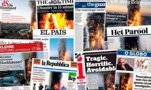 Headlines from papers around the world cover the Grenfell Tower fire