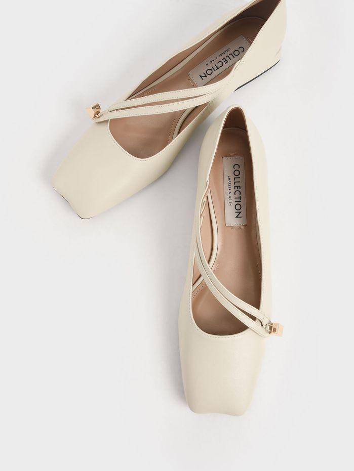 Leather Asymmetric Strap Ballerina Flats charles & keith