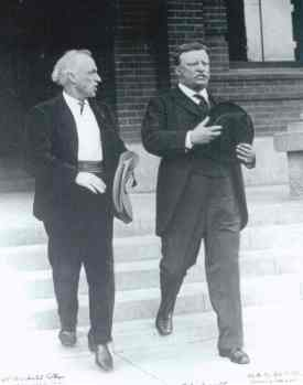 Charles Lummis and Theodore Roosevelt at Occidental College in Los Angeles on March 22, 1911. Courtesy of Southwest Museum, Los Angeles, N20093