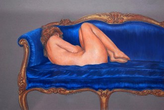 Girl on a Hot Blue Couch