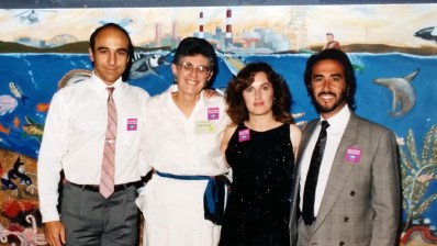 CLB, Dorothy Green President of Heal the Bay, artist Ruth San Pietro, publisher Gary Hasson at Heal the Bay mural project, Santa Monica