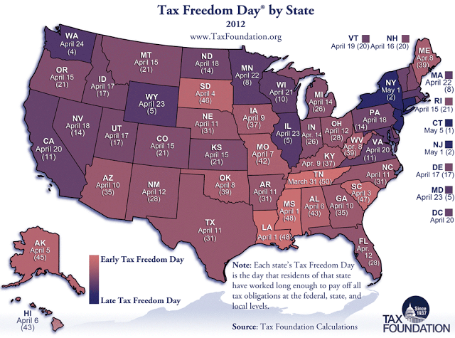 Freedom Oklahoma Map.Today Is Tax Freedom Day In Oklahoma Ok Politechs