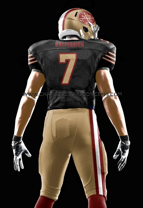 kaepernick back black and gold