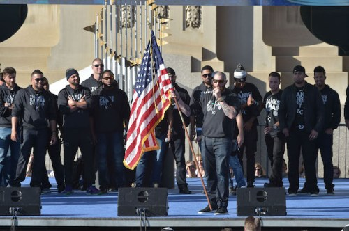Nov 3, 2015; Kansas City, MO, USA; Kansas City Royals player Jonny Gomes speaks to fans during the World Series victory celebration on stage at Union Station. Mandatory Credit: Denny Medley-USA TODAY Sports