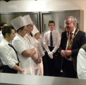 Provost Alex Graham chats to pupils