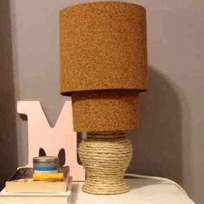 Diy cork lampshade archives charleston crafted diy rope cork lamp a lamp revamp aloadofball Images