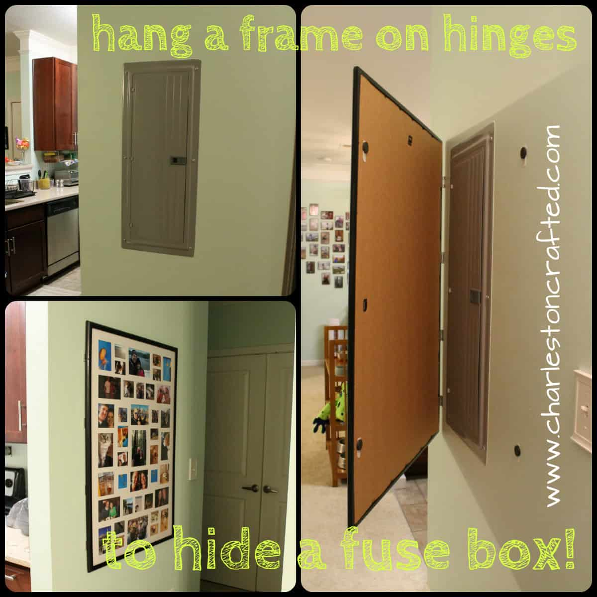How to Hide a Fuse Box By Hanging a Frame on Hinges Charleston Crafted now you see it, now you don't \u2022 charleston crafted can you put magnets on a fuse box at mifinder.co