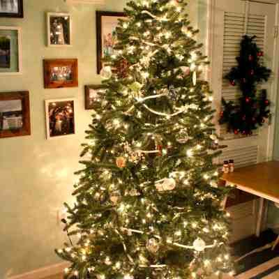 A Simple Striped Tree Skirt & Our 2015 Coastal Christmas Tree