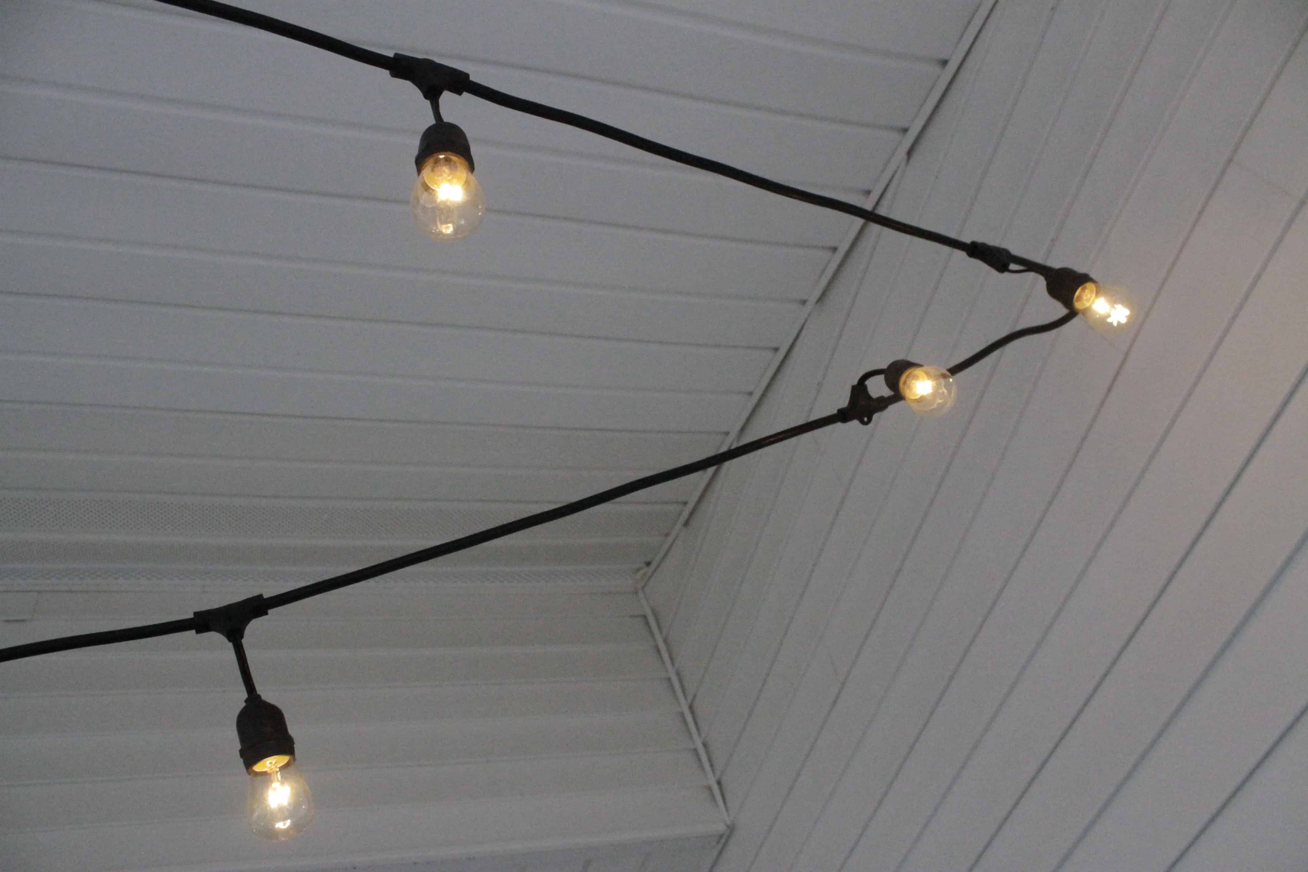to hang string lights on a screened porch