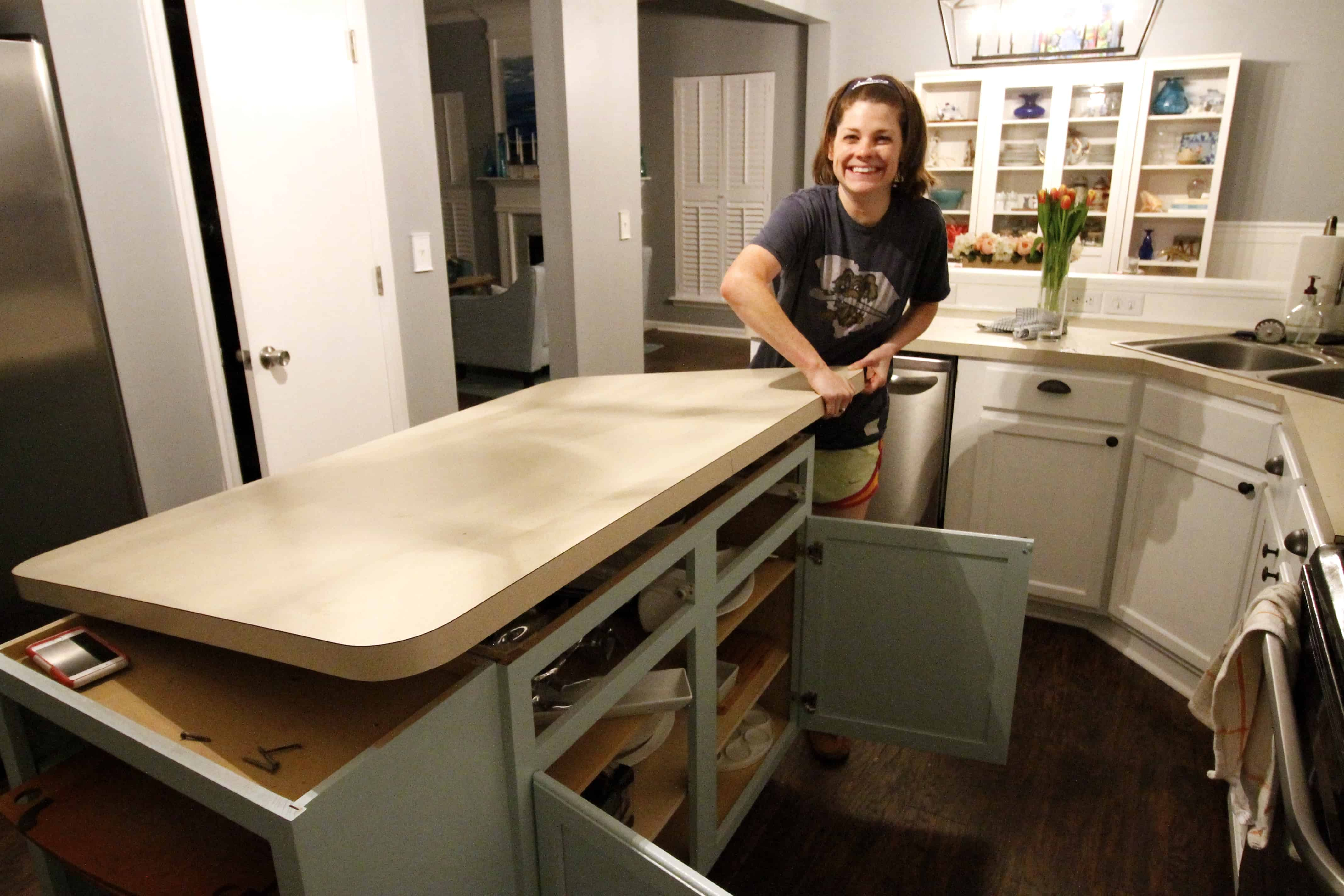 How to remove kitchen cabinets and countertops - Removing The Actual Countertops Was Super Simple They Are Just Screwed In Place If You Look Inside The Cabinet Up At The Underside Of The Counter