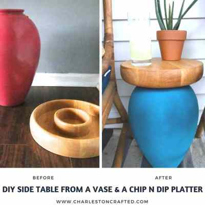Thrift Games: Upcycling a Vase & Chips and Salsa Tray into a Porch Side Table
