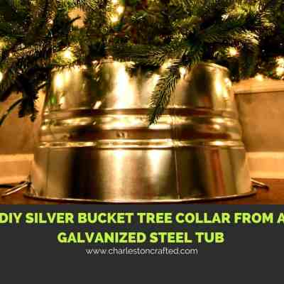 DIY Silver Bucket Tree Collar from a Galvanized Steel Tub