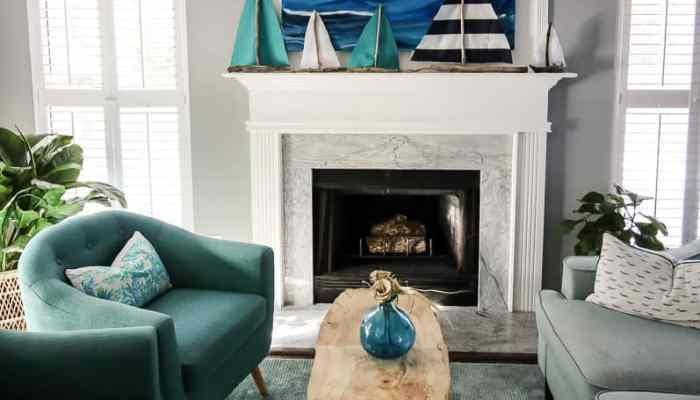 DIY Driftwood Sailboat Mantel & a linkup!
