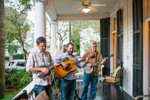 PARTY ON THE PIAZZA: Bluegrass, bloody marys and pimento cheese bites are necessities for a party on the piazza.