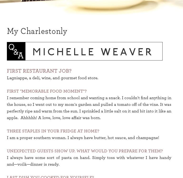 Chef Michelle Weaver, Charleston Grill