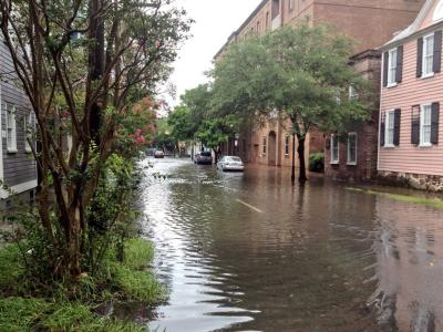 Street flooding in downtown Charleston