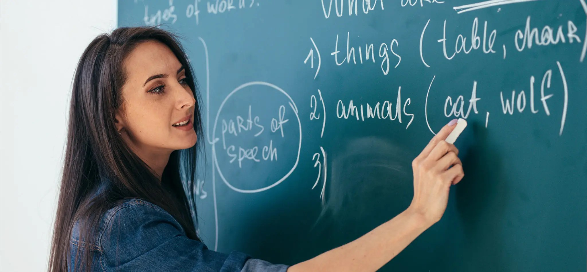 Teacher standing in front of the class blackboard writing explanations related to the english language.